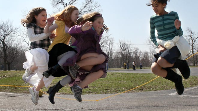 Fifth-graders at Heritage Hall jump rope during recess in this file photo from 2010.