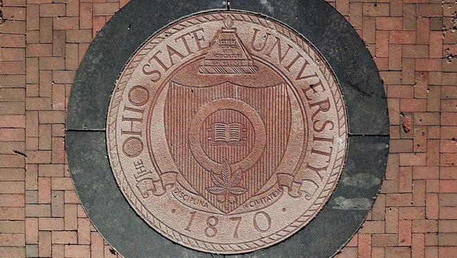 The Ohio State University seal at the East entrance to the Oval.