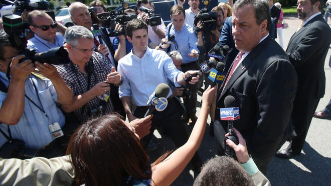 Gov. Chris Christie is questioned about Donald Trump after casting his vote in the Primary Election at the Emergency Services Building in Mendham Twp.