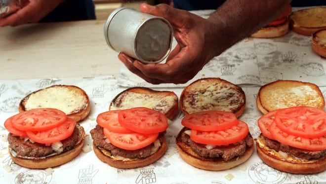 Hamburgers at the Blue Dot Bar-B-Q on Devilliers St. in Pensacola.