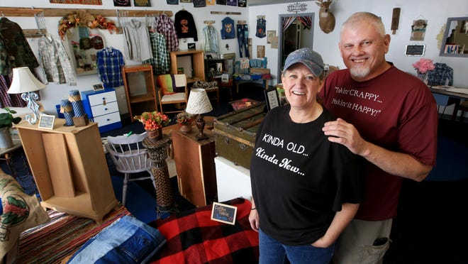 Cindi and Mark Nunnelley opened Kinda' Old Kinda' New at 403 N. Main, a business that specializes in repurposing furniture and clothing and creating memory items.