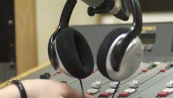 Inside a radio booth