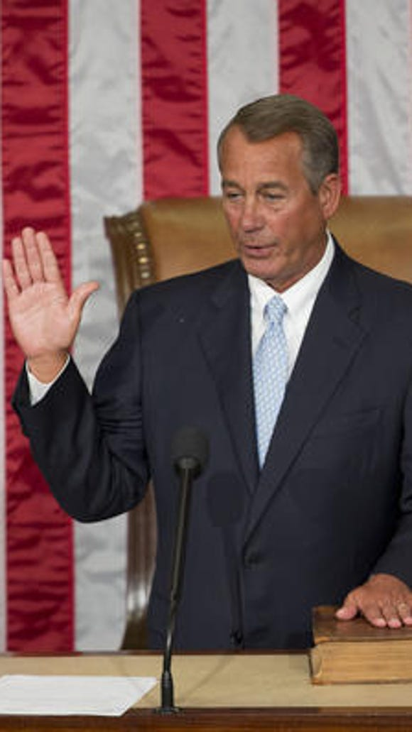 House Speaker John Boehner was re-elected but not unanimously.