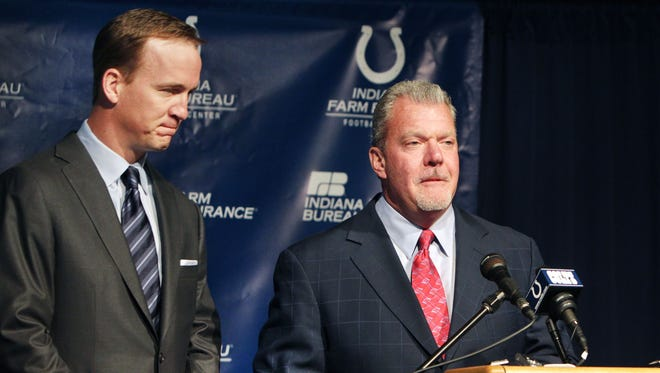 """The long awaited announcement that quarterback Peyton Manning and the Indianapolis Colts were parting ways was a very difficult one by both Manning, left, and team owner Jim Irsay, at the Colts Complex on W. 56th Street in Indianapolis on Wednesday, March 7, 2012. Irsay said that it was """"the conclusion of Peyton's playing career with the Colts"""" and he wanted to """"honor all the incredible memories."""" Manning, who said he doesn't want to retire, said, """"I still want to play. There's no other team I've ever wanted to play for. Nobody's had it better than I have, playing for the Indianapolis Colts these 14 years."""" He also said, """"It's certainly been emotional. It's weighed heavy on my heart. But I am at peace with it."""" Charlie Nye / The Star"""