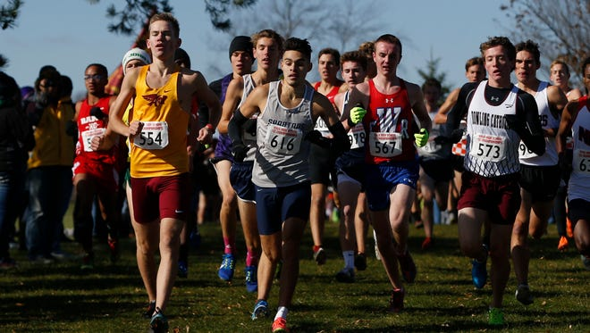 Ankeny junior Tim Sindt (left) leads the pack Saturday, Oct. 28, 2017, during the State Cross County Championships in Fort Dodge.