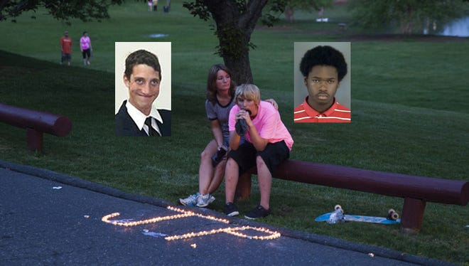 Isaiah Stuart, 16, (Insert right) is charged with first-degree murder in the stabbing death of Julian Parrott, (Insert left). Tina Evers, left, sits with her daughter Rachel Evers, 15, after the vigil for Julian Parrott at Gypsy Hill Park on Monday, May 12, 2014. Parrott was killed May 7, 2014 in Gypsy Hill Park.