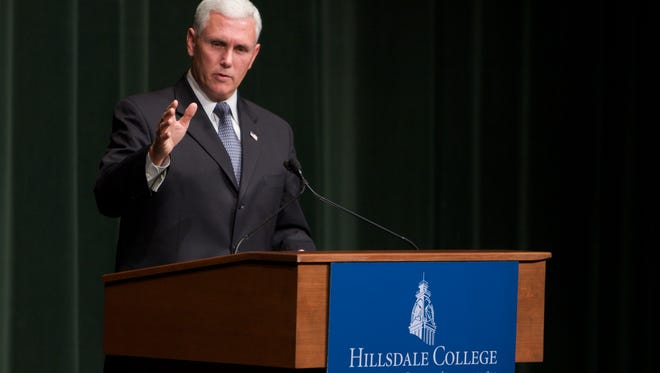 Then-Congressman Mike Pence speaks at Hillsdale College in 2010. Now Vice President, Pence will deliver the 2018 commencement address.