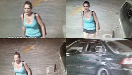 The Reno Police Department released these photographs of a suspect in a vehicle burglary at a downtown Reno casino parking garage.