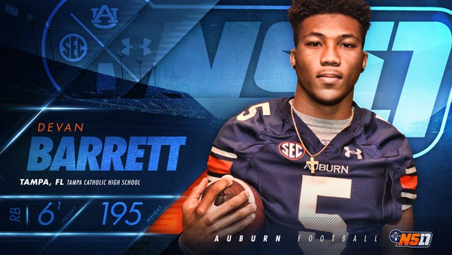 Four-star tailback Devan Barrett signed with Auburn yesterday after being one of the nation's best tailbacks out of Tampa (Fla.) Catholic High School.