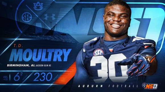 Don't let this photo fool you, Auburn four-star signee T.D. Moultry will be given Carl Lawson's No. 55 as a freshman.