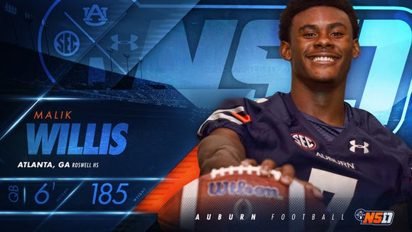 Auburn four-star quarterback signee Malik Willis has
