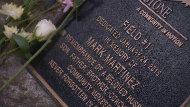 The plaque honoring Mark Martinez.