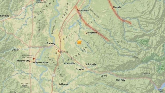 A magnitude 3.1 earthquake struck near Salem on Saturday night.