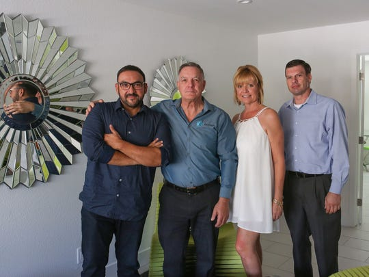 From left:  Filmmaker Christian Sesma, JIm Gray, Karen Gardinier and Joseph Dubois of the iRecover Addiction Recovery Center in Cathedral City, August 11, 2017