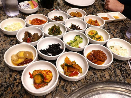 An assortment of Banchan at Seoul BBQ & Sushi.