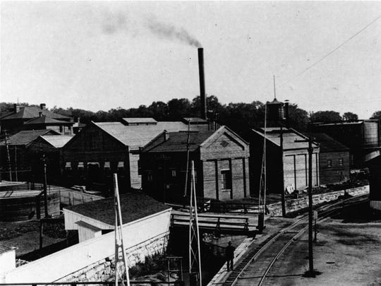 An early photo of the Columbia Gas Company in Staunton, where it still is today. The railroad tracks sit where Commerece Drive no runs and N. Coalter Street runs across the bridge and up the hill.