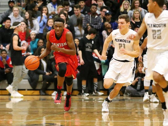 Charging up the floor Friday is Canton's Obi Okoli