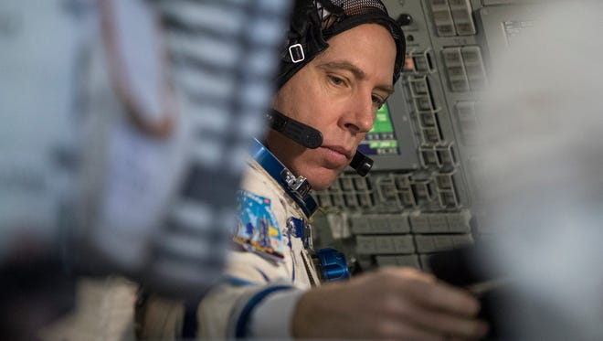 U.S. astronaut Andrew Feustel attends the final preflight practical examination in a mock-up of a Soyuz space craft at Russian Space Training Center in Star City, outside Moscow, Russia, Wednesday, Feb. 21, 2018. Russian cosmonaut Oleg Artemyev, U.S. astronauts Richard Arnold and Andrew Feustel are the next crew scheduled to blast off to the International Space Station from the Baikonur Cosmodrome on a Russian made Soyuz MS-08 space craft.