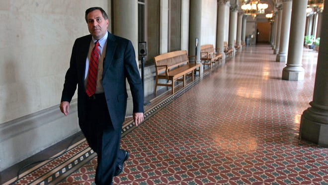 In this June 10, 2009 file photo, Steven Pigeon walks in a hallway at the Capitol in Albany.