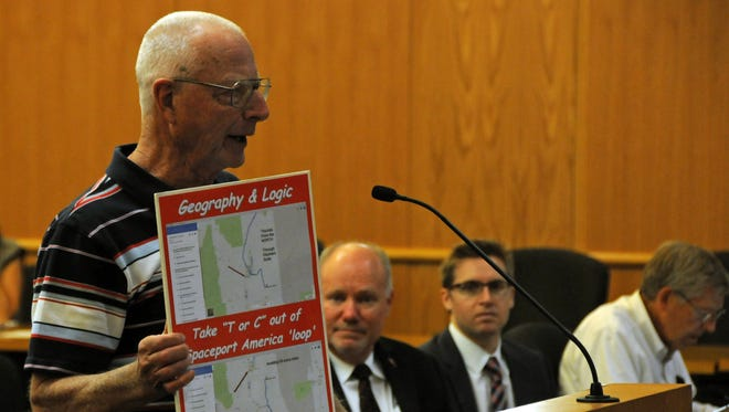 """Ron Fenn of Truth or Consequences, speaks in June against using excess revenue from local taxes to help fund Spaceport America's operations, and says his city """"is the appendix in this whole matter. We are left out of the loop."""" The spaceport skeptic hasn't always had as easy a time getting documents he's requested from the New Mexico Spaceport Authority as state law requires."""