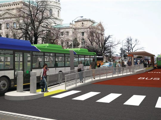 A rendering of a Red Line station at the Indiana Statehouse