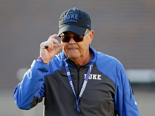 FILE - In this July 31, 2017, file photo, Duke coach David Cutcliffe watches during the team's NCAA college football practice in Durham, N.C. Duke visits Virginia Tech Saturday, Oct. 28, 2017.  (AP Photo/Gerry Broome, File)