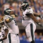 Eagles defensive tackle Beau Allen (left) and nose tackle Bennie Logan celebrate during the third quarter of Monday's game against the Indianapolis Colts. The Eagles won 30-27.