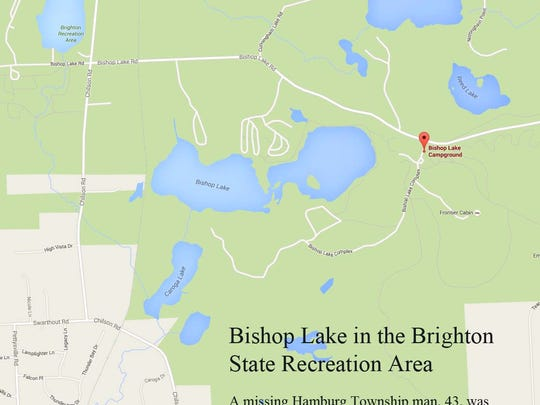 A missing 43-year-old Hamburg Township man was found dead in the Bishop Lake area on Saturday.