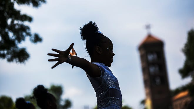 June 17, 2017 - Dancer Lionna Leake, 11, performs with the Magnolia Hi-Steppers during the 25th annual Memphis Juneteenth Urban Music Festival at the historic Robert R. Church Park on Saturday. Juneteenth is a national holiday which commemorates the abolition of slavery and the freeing of the last African-American slaves in Galveston, Texas, on June 19, 1865. The event ends on Sunday. For more information, visit www.memphisjuneteenth.com.