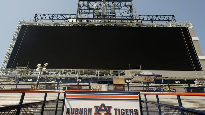 Auburn University officials say the display area of the new football scoreboard at Jordan-Hare Stadium is expected to measure 190 feet by 57 feet. The video board cost $3.5 million.