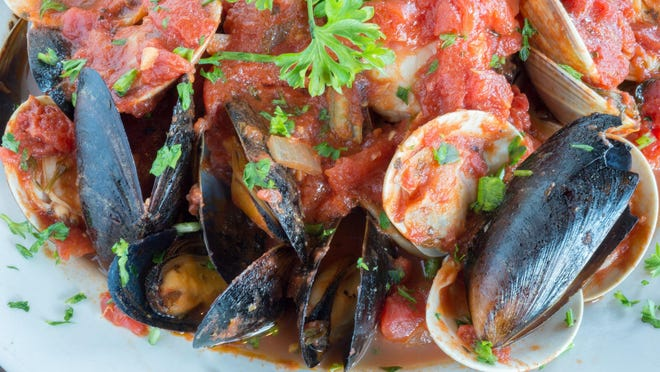 The zesty Seafood Fra Diavlo is impeccably prepared with cayenne pepper blended by chef David Liberty.