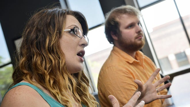 Clare and Brandon Richards talk Sept. 3 about their efforts to start a local chapter of Rotaract in St. Cloud.