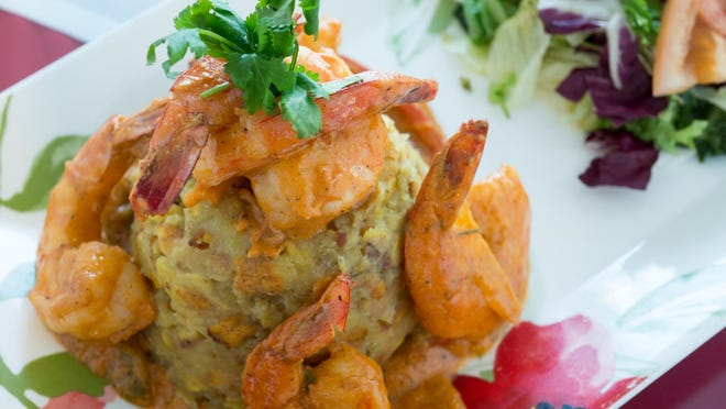 Eleven varieties of mofongo, a plantain-based dish, include Con Camarones, with shrimp. Sauces include tomato, garlic and coconut.