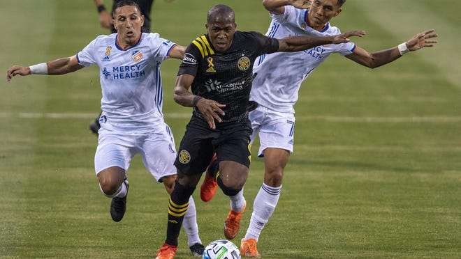 The Crew's Darlington Nagbe, breaking free against FC Cincinnati on Sept. 6, will be out another two to three weeks with a knee injury.