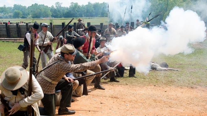 Re-enactors perform during the 2015 reenactment of the Battle of Selma. The Battle of Selma occurred during the Civil War in 1865.