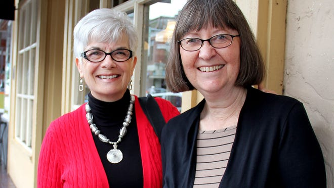 From left, Jan Svingen and Doreen Negstad visited Holding Court to tout an upcoming Assistance League of Salem-Keizer Auxiliary fundraiser that will feature nationally recognized author Lynne Olson.