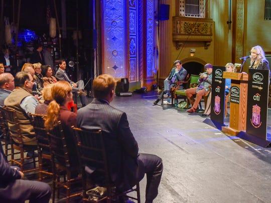 Maureen Van Zandt speaks at the Count Basie Theater