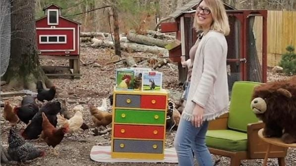 Alyisha Wasilewski, senior library technician for youth services at the Ames Free Library, recently filmed her story time among chickens.