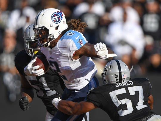 Tennessee Titans rookie running back Derrick Henry (2), shown here in the preseason vs. Oakland, was part of a talent upgrade by the Titans.