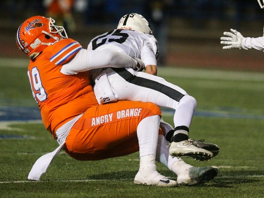Central's Malik Smith brings down Permian's Steve Steen Friday, Oct. 27, 2017, at San Angelo Stadium.