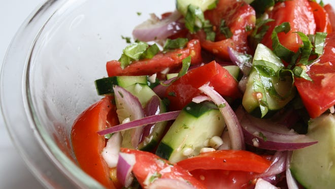 Tomato Cucumber Salad from the cookbook Dinosaur Bar-B-Que: An American Roadhouse.
