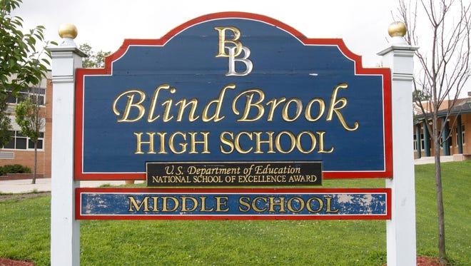 The sign outside Blind Brook High School