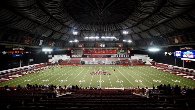 The DakotaDome before the first half of the Class 9B football state championship game on Nov. 9, 2017 in Vermillion, S.D..
