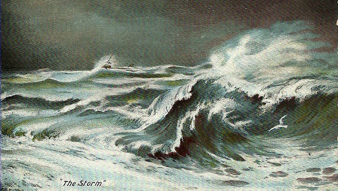 """Stormy seas such as these wrecked 74 ships along the coast of Prince Edward Island during the """"Yankee Gale"""" of Oct. 3-5, 1851. Many of the ships were from the Cape, especially the towns of Provincetown, Truro, Wellfleet, Harwich, and Dennis."""