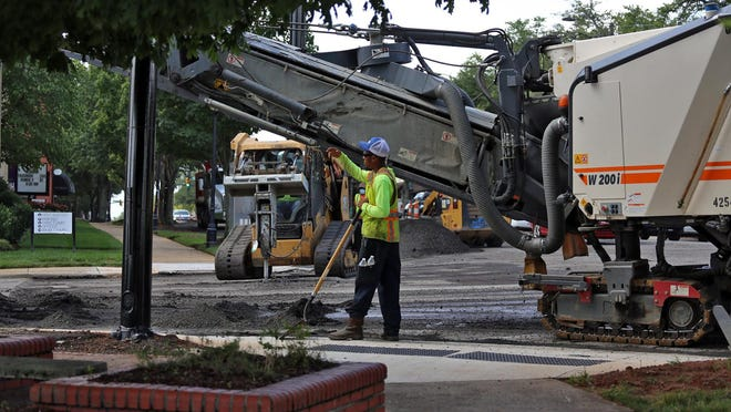 Road construction continues in uptown Shelby on Monday. Budgets for future projects like street repair could be put on hold as a result of the coronavirus pandemic.