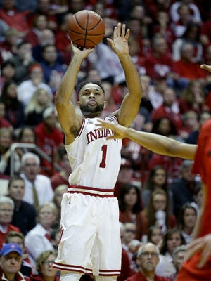 Indiana Hoosiers guard James Blackmon Jr. (1)  shoots three-pointer in the second half of their game Sunday, January 15, 2017, afternoon at Assembly Hall in Bloomington IN. The Indiana Hoosiers defeated the Rutgers Scarlet Knights 76-57.