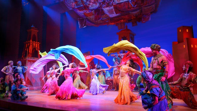 The ?Arabian Nights Women? scene from the musical version of ?Aladdin.? The production runs through Sunday at the Aronoff Center as the final presentation of the Broadway in Cincinnati season.