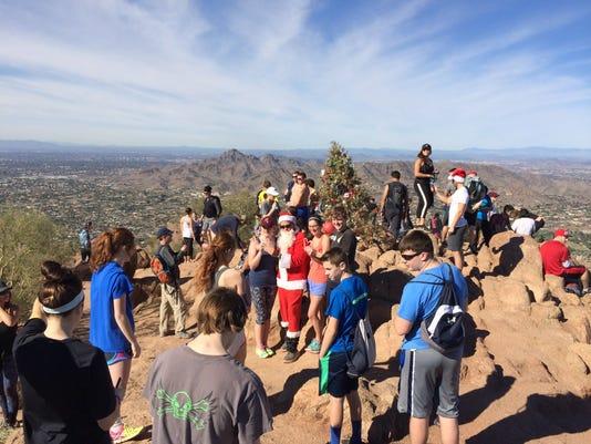 Santa Claus hiking