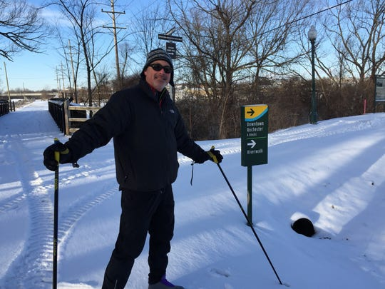 Tim Brisbois, 55, of Rochester cross-country skis before