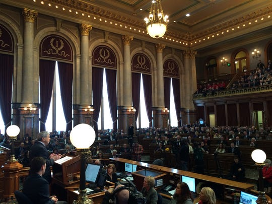 Iowa Gov. Branstad, bottom left, delivers his Condition of the State address to a joint session of the Iowa Legislature.